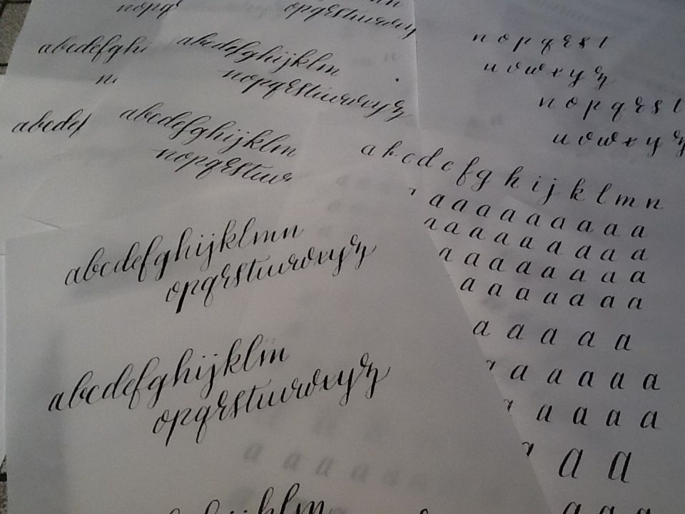 Calligraphy: basic strokes and lowercase alphabet