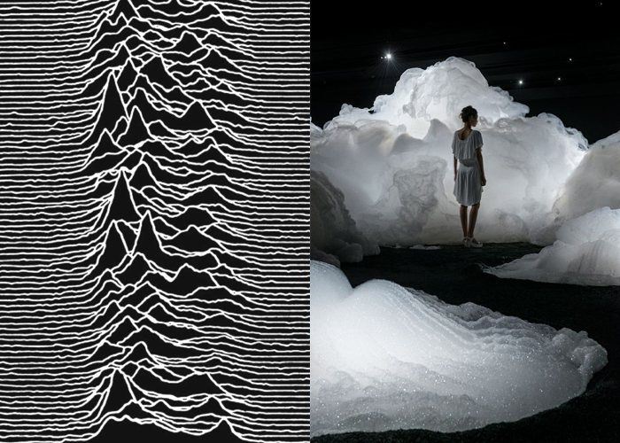 Mini Moodboard: Topography. From Peter Saville's radio waves to Kohei Nawa's clouds of foam.