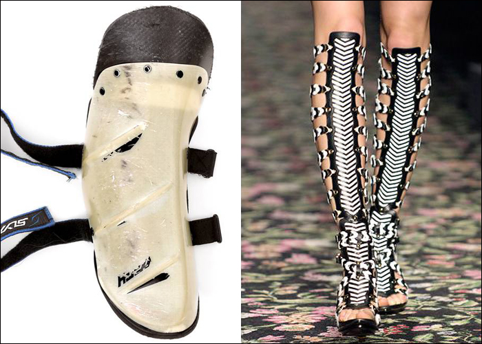 Mini Moodboard: Body armor. From physical skiing shin guards to fashionable gladiator boots by Balenciaga.