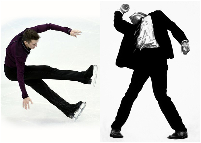 Mini Moodboard: Free Fall. Figure skater Jeremy Abbott and Robert Longo's Men in Cities succumb to gravity.