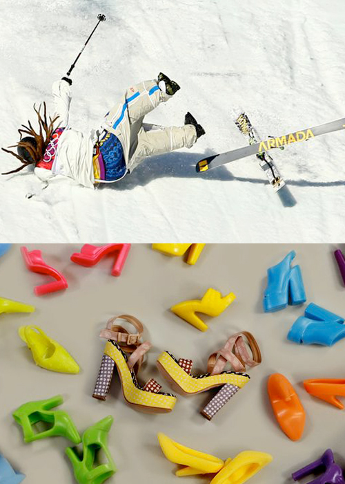 Mini Moodboard: Yard Sale. Swedish freeskiier Henri Harlaut wipes out in Olympic Slopestyle. Brook & Lyn photo styling of shoes.