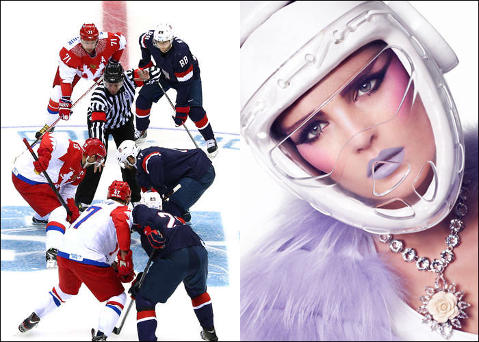 Mini Moodboard: Face-off. Olympic hockey vs. game day makeup.
