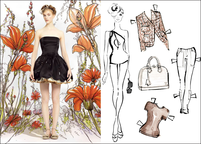 Mini Moodboard: Paper Dolls. Illustration inspiration from Red Valentino and Louis Vuitton.
