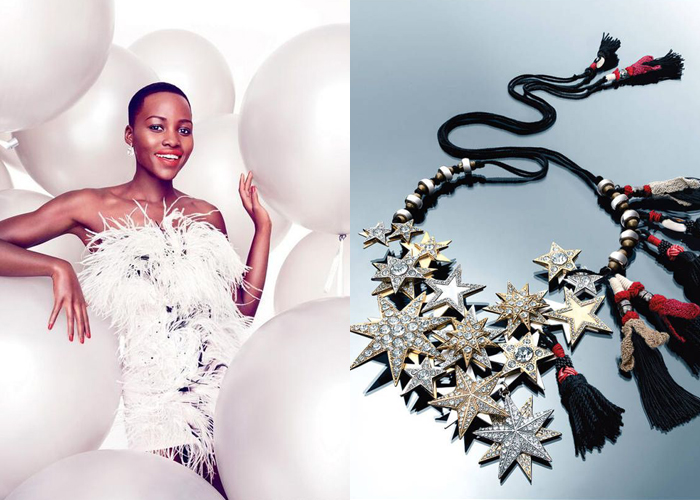 Mini Moodboard: Star Power. Rising star Lupito Nyong'o along with Dries van Noten jewels to light up the night.