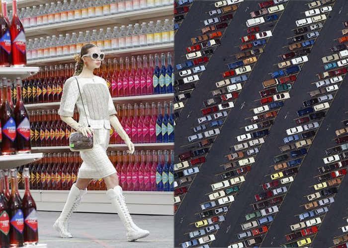 Mini Moodboard: Supermarché. Karl Lagerfeld transforms the world into a Chanel megastore and Alex MacLean supplies the requisite parking lot.