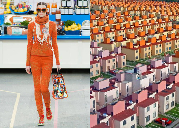 Mini Moodboard: Supermarché 2. Karl Lagerfeld co-opts suburbia for Chanel and San Buenaventura housing complex is less than a dream.