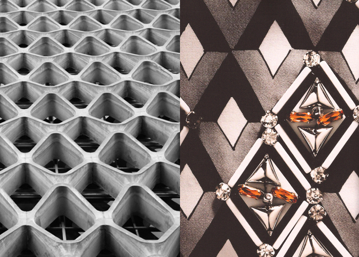 Mini Mood Board: Rhomboids. American Cement Building and Prada's fashion collection.
