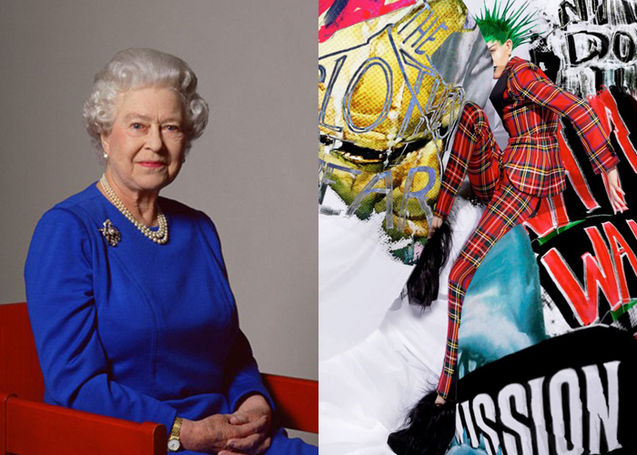 Mini Mood Board: London Calling. Queen Elizabeth and a punk-style fashion poster