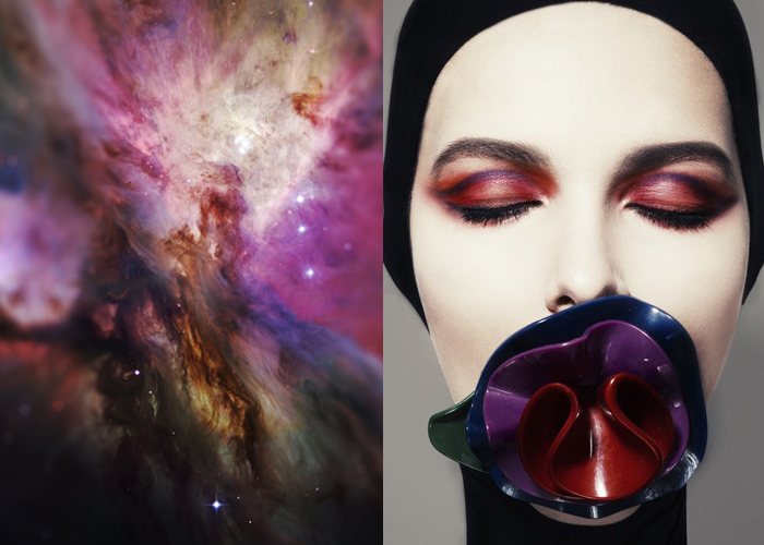Mini Mood Board: Cosmic Colors. Illuminated Code from Space by Haari Tesla paired with heavenly makeup by Yulia Zubareva