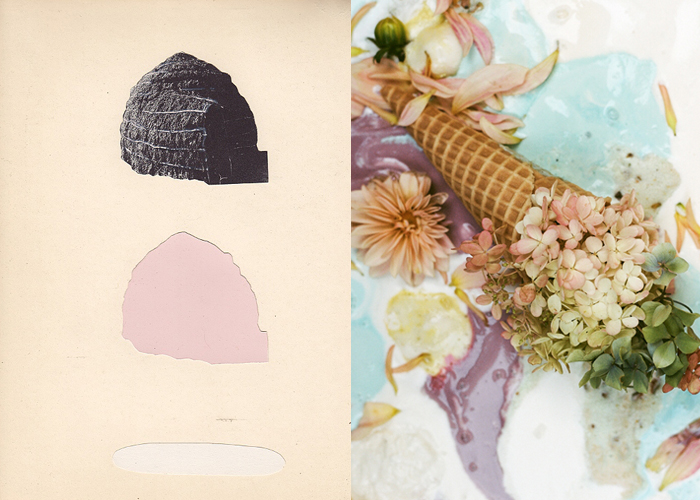 Mini Mood Board: Two Scoops. Ancient Pleasures by Matthew Craven paired with Patrick Fitzgerald's dreamy ice cream and flowers
