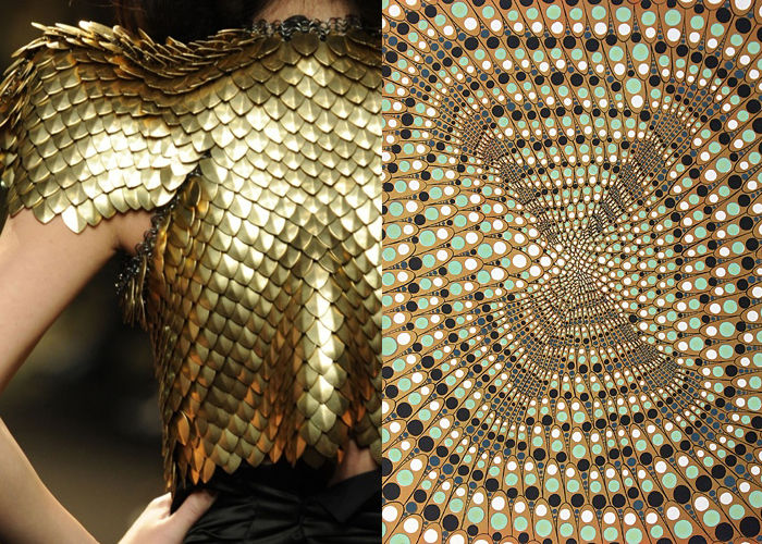Mini Mood Board: Scales. Nature-inspired art from Barbara Takenaga and fashion from Alexandre Vauthier