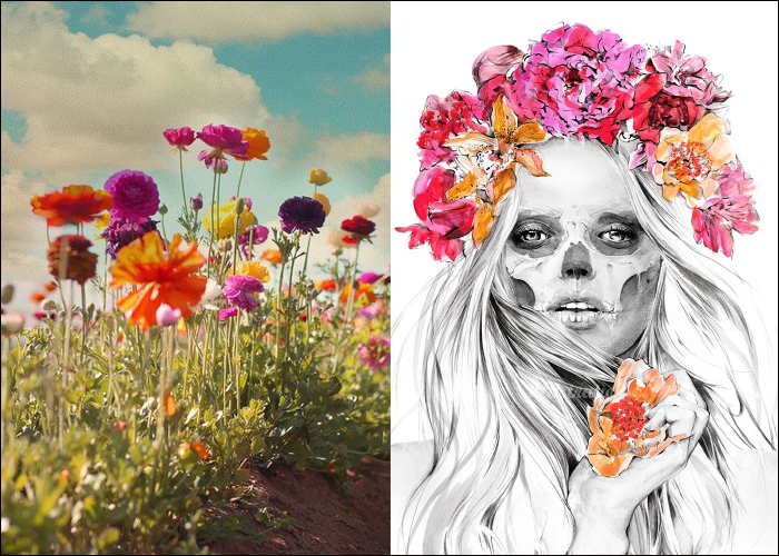 MINI MOOD BOARD: WILDFLOWERS. Kelly Smith's dark beauty keeps it from too much saccharine