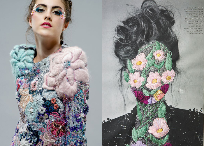 MINI MOOD BOARD: EMBELLISHED. Hand embroidery by Stephanie Cristofaro and Jose Romussi