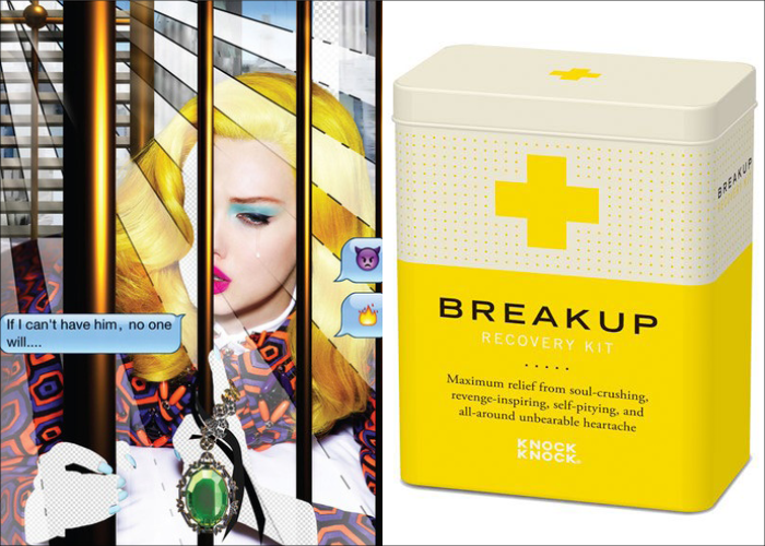MINI MOOD BOARD: HEARTBREAK. Coming to grips with it from photographer Nick Knight and Knock Knock'sRecovery kit