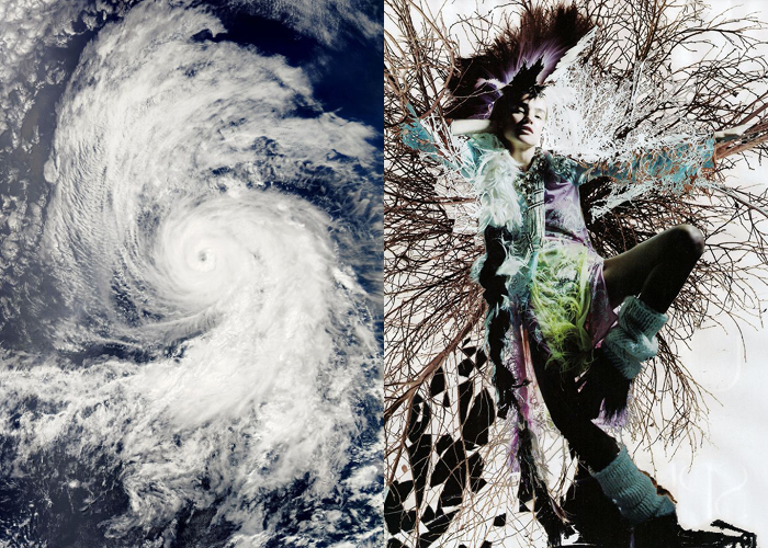 MINI MOOD BOARD: TEMPEST. Turbulence created by Hurricane Daniel and photographer Nick Knight