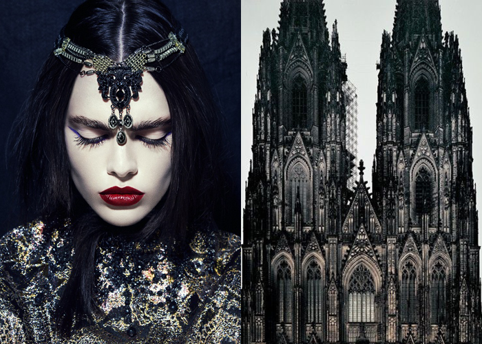 MINI MOOD BOARD: GOTHIKA. Featuring photos by Iakovos Kalaitzakis and Guy Sargent. #nancyherrmann