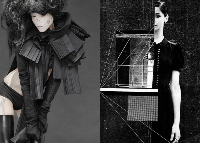 MINI MOOD BOARD: ASSEMBLAGE. L) Fashion Barbara|Gongini with photo by Karina Jonson and R) collage by Laura Guarie