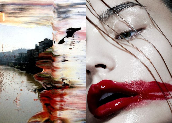 MINI MOOD BOARD: SMEAR. Featuring overpainted photo by Gerhard Richter & photo by Hannah Khymych