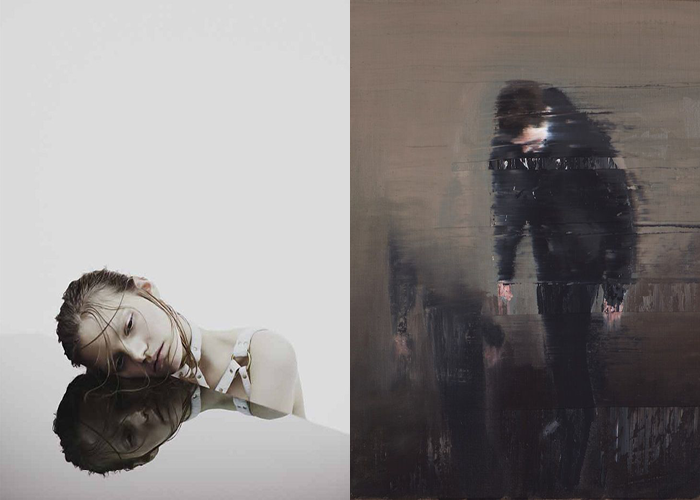 MINI MOOD BOARD: ADRIFT. Featuring photo by Nhu Xuan Hua and glitch painting by Andy Denzler. #nancyherrmann