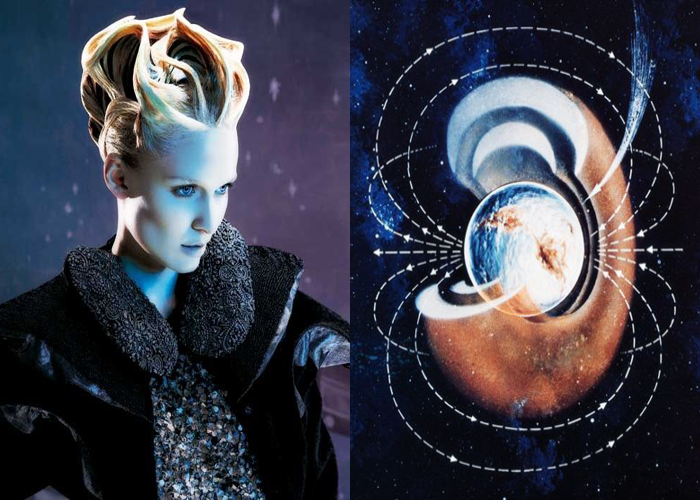 MINI MOOD BOARD: ANTIMATTER. Featuring hair by Skylar McDonald and antimatter illustration from National Geographic. #nancyherrmann
