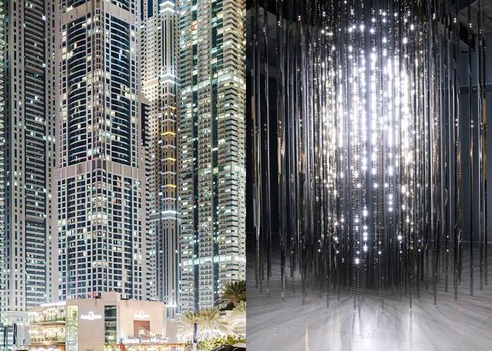 MINI MOOD BOARD: LIGHT SHOW. Photo of Dubai by Éole Wind with art installation by Leo Villareal. #nancyherrmann