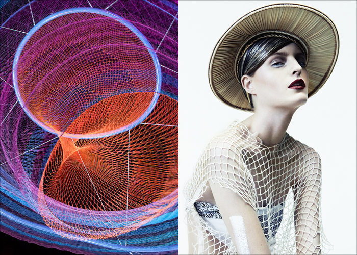 MINI MOOD BOARD: NET EFFECTS. Art installation by Janet Echelman with fashion photo by Ceen Wahren. #nancyherrmann #moodboard