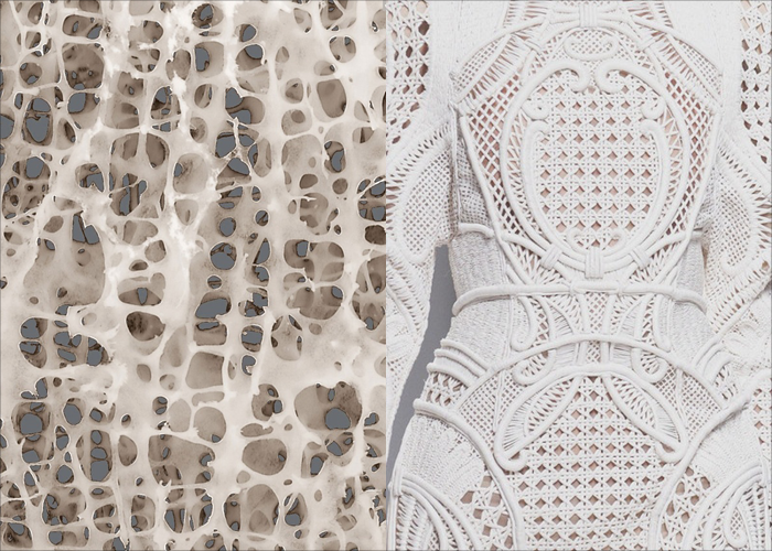 MINI MOOD BOARD: PERFORATED. Bone architecture by Tim Arnett with fashion by Olivier Rousteing for Balmain. #nancyherrmann #moodboard