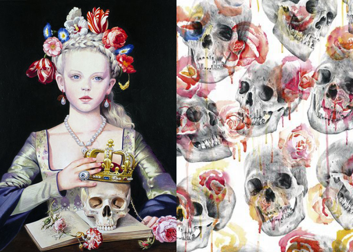 MINI MOOD BOARD: MOMENTO MORI. Vanitas art by Titti Garelli and Paul Alexander Thornton. #nancyherrmann #moodboard #momentomori #vanitas