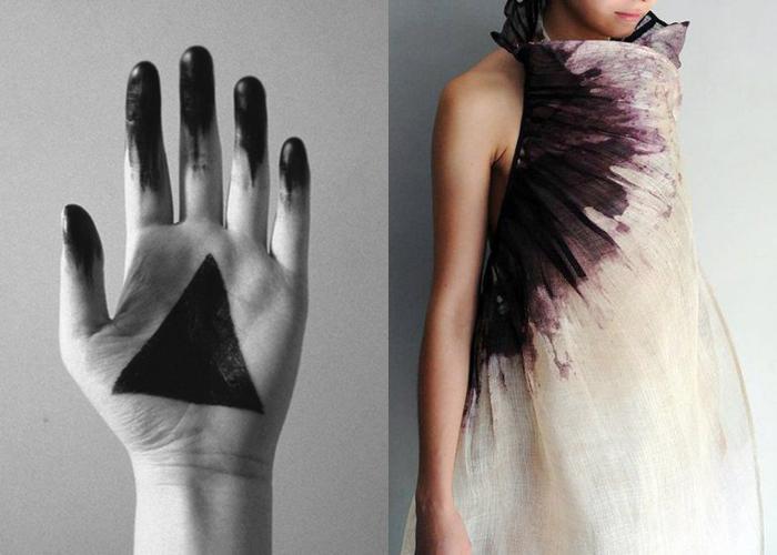 MINI MOOD BOARD: STAIN. Illuminati symbol with textile design by Aude Tahon #nancyherrmann #moodboard