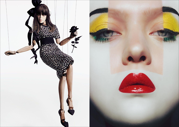MINI MOOD BOARD: MARIONETTE. Photos by Inez van Lamsweerde and Vinoodh Matadin with image by Mark Gong #nancyherrmann #moodboard #marionette #puppet