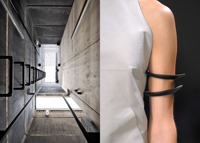 MINI MOOD BOARD: BRUTAL. Architecture by Modularbeat with fashion by Rick Owens #nancyherrmann #moodboard #brutal