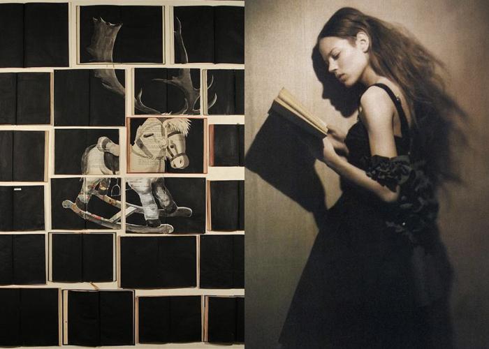 MINI MOOD BOARD: BOOKISH. Book art by Ekaterina Panikanova and photo by Paolo Roversi #nancyherrmann #moodboard #bookish