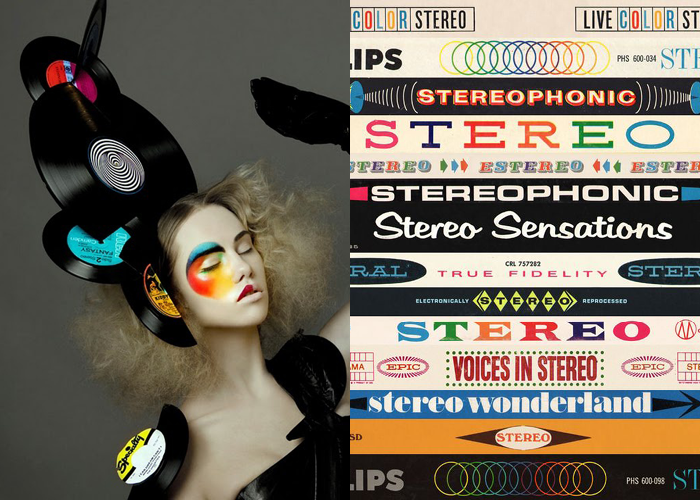 MINI MOOD BOARD: FOR THE RECORD. Hat by Stephen Jones with vintage stereo logos. #nancyherrmann #moodboard #fortherecord