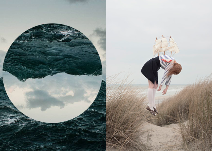 MINI MOOD BOARD: SUSPENDED ANIMATION. North Sea image by Corey Arnold with Sleeping Elevations photo by Maia Flore. #nancyherrmann #moodboard