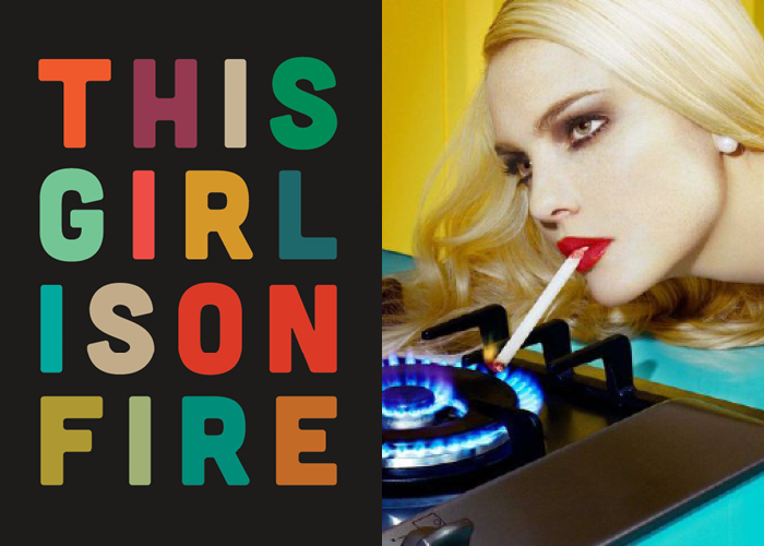MINI MOOD BOARD: IGNITE. Graphic poster by Kate Moore with photo by Miles Aldridge. Pairing created with @melaniebiehle #nancyherrmann #moodboard #365dayproject #ignite