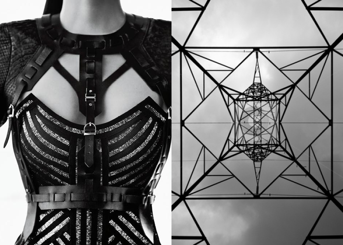 MINI MOOD BOARD: HARNESS. Fashion by Max Azria for Herve Leger with photo by Hein Schlebusch. #nancyherrmann #moodboard #harness