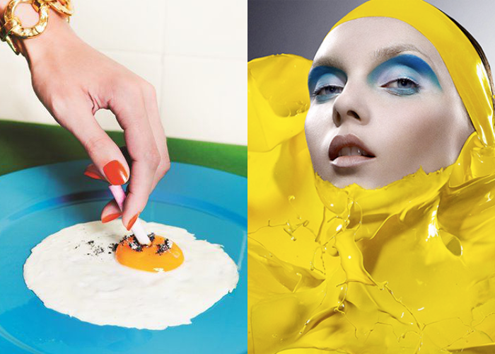 MINI MOOD BOARD: SUNNY SIDE UP. Photos by Miles Aldridge and Iain Crawford. #nancyherrmann #moodboard #sunnysideup