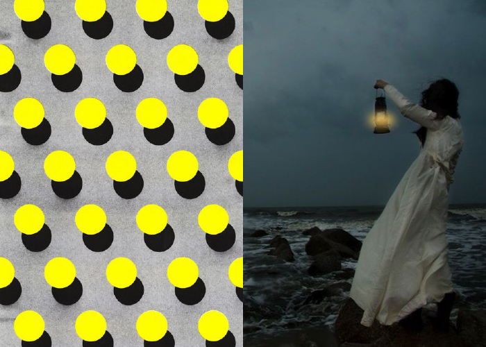 MINI MOOD BOARD: BEACON. Graphic dots with photo by Caroline Knopf. #nancyherrmann #moodboard #beacon