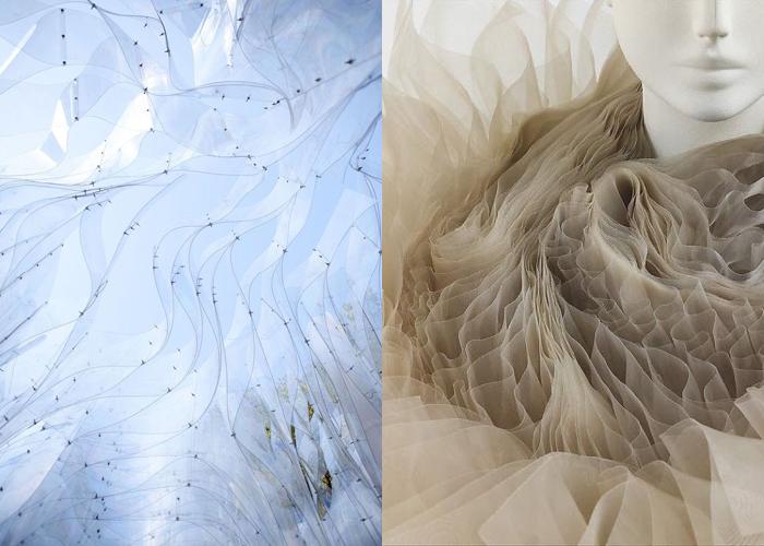 MINI MOOD BOARD: FOLD. Fashion design by Junya Watanabe for Comme des Garçons w/ architecture by Orproject. #nancyherrmann #moodboard #fold