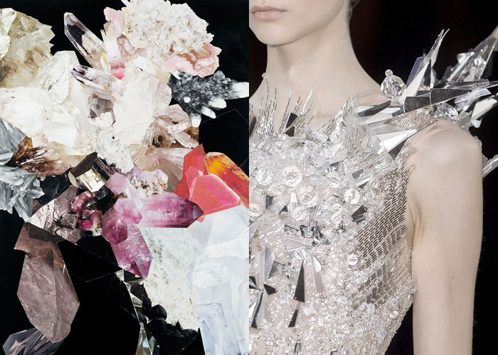 MINI MOOD BOARD: CRYSTALLIZE. Collage by Nicole Wermers with fashion by Valentin Yudashkin.  #nancyherrmann #moodboard #crystallize