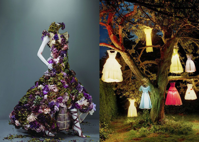 MINI MOOD BOARD: HANGING GARDEN. Rose dress by Alexander McQueen with photo by Tim Walker. #nancyherrmann #moodboard #hanginggarden