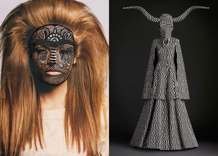 MINI MOOD BOARD: PAGAN. Illustration by Nina Chakrabarti paired with fashion by Gareth Pugh. #nancyherrmann #moodboard #pagan