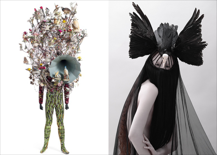 MINI MOOD BOARD: TOTEM. Nick Cave Soundsuit paired with Jay Briggs headpiece photographed by Fabio Esposito. created with @melaniebiehle #nancyherrmann #moodboard #totem