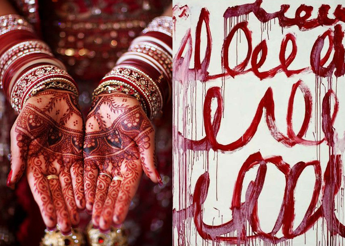 MINI MOOD BOARD: MARKINGS. Mendhi photo by Gita Buga with art by Cy Twombly #nancyherrmann #moodboard #markings