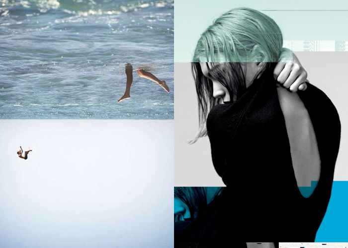 MINI MOOD BOARD: PLUNGE. Photo collage by Brian Oldham with Jil Sander Navy photo by Willy Vanderperre. #nancyherrmann #moodboard #plunge