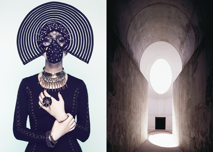 MINI MOOD BOARD: COVERT. Photo by Sequoia Emmanuelle featuring Ulorin Vex paired with Roden Crater large-scale artwork by James Turrell. #nancyherrmann #moodboard #covert