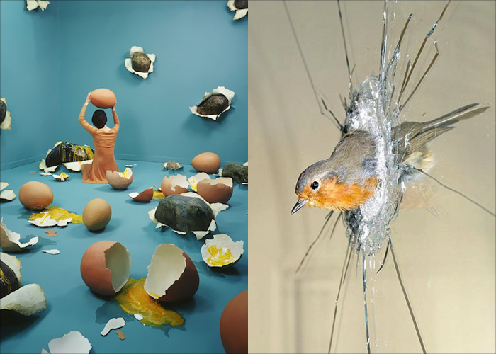 MINI MOOD BOARD: FRAGILE. Installation & photo by JeeYoung Lee paired with taxidermy art by Polly Morgan. Made with @melaniebiehle  #nancyherrmann #moodboard #fragile