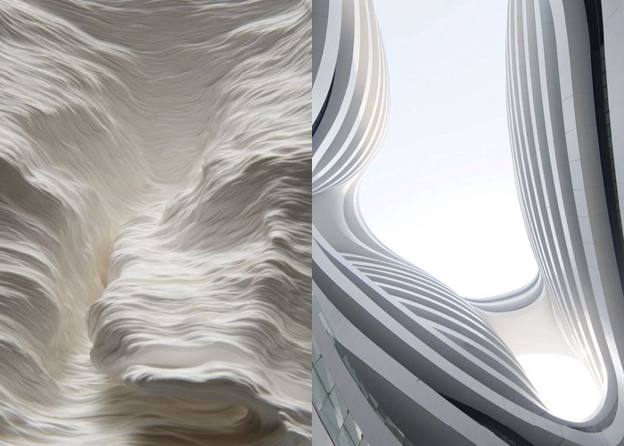 MINI MOOD BOARD: STRATUM. Paper sculpture by Noriko Ambe with Galaxy Soho by Zaha Hadid Architects.  #nancyherrmann #moodboard #stratum