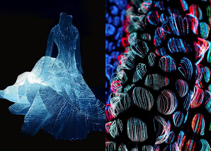 MINI MOOD BOARD: FIBER OPTICS. Dress design by Tae Gon Kim with textiles by Malin Bobeck.  #nancyherrmann #moodboard #fiberoptics