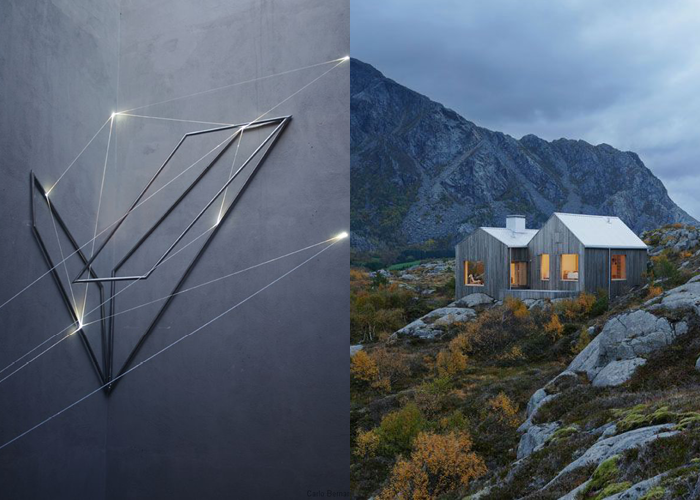 MINI MOOD BOARD: UNTITLED 4. Light art by Carlo Bernardini with Norwegian house Kolman Boye Architects. #nancyherrmann #moodboard